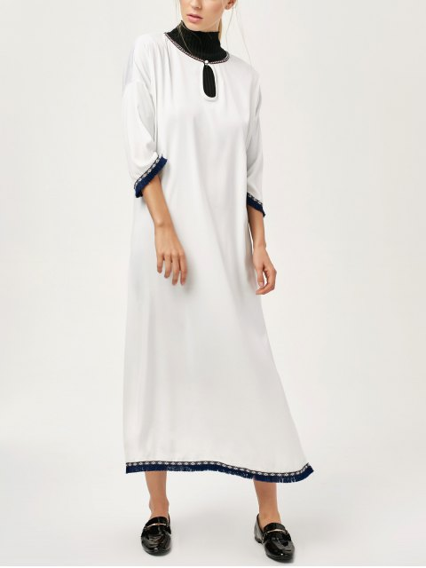 lady Side Slit Loose Maxi Dress - WHITE XL Mobile