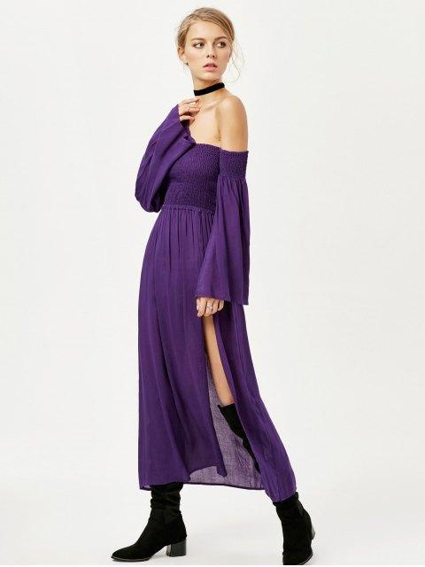 shop Off Shoulder High Slit Shirred Maxi Dress - PURPLE M Mobile