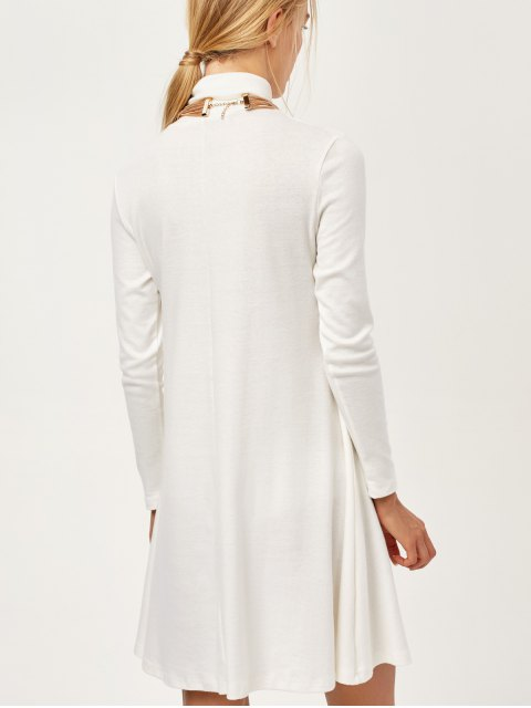 shop Turtle Neck Mini Swing Dress - WHITE 2XL Mobile