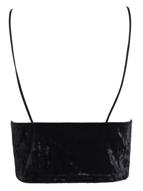 shops Velvet Cami Cropped Top - BLACK M Mobile