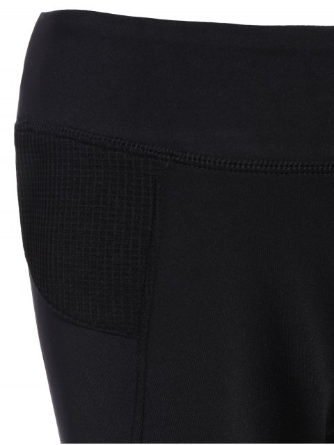 buy Mesh Insert Capri Leggings - BLACK 2XL Mobile