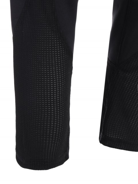 womens Mesh Insert Capri Leggings - BLACK XL Mobile
