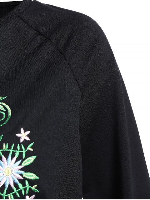 womens Floral Embroidered Tunic Sweatshirt - BLACK M Mobile
