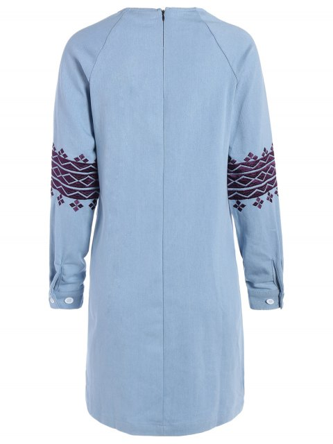 lady Embroidered Sleeve Denim Tunic Dress - LIGHT BLUE S Mobile
