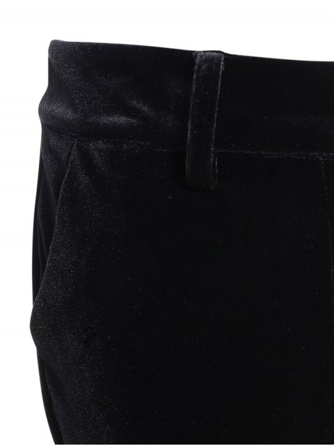 online Velvet High Low Boot Cut Pants - BLACK L Mobile