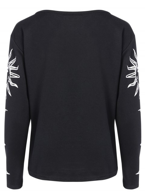 shop Sun Print Long Sleeve T-Shirt - BLACK 2XL Mobile