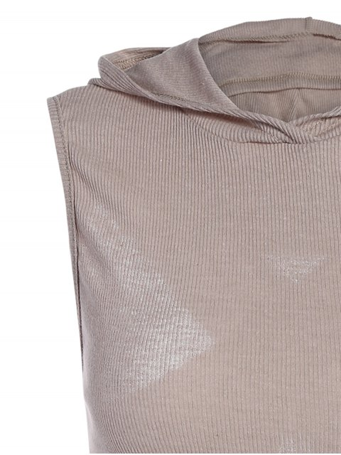 sale Hooded Sleeveless Top - GRAY XL Mobile