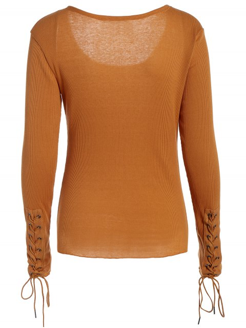 womens Lace Up Sleeve Scoop Neck Tee - BROWN S Mobile