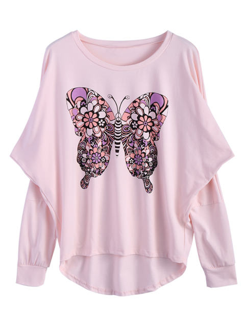 sale Butterfly Print Scoop Neck Longline Tee - PINK M Mobile