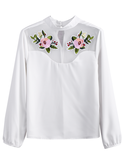 online Mesh Panel Floral Embroidered Blouse - WHITE S Mobile
