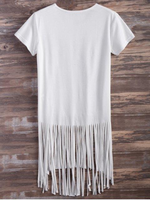 chic Butterfly Print Fringe T-Shirt - WHITE M Mobile