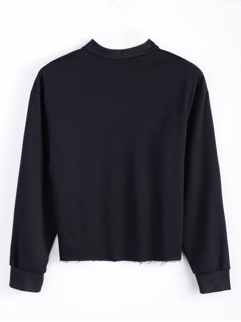 trendy Mock Neck Oversized Letter Print Sweatshirt - BLACK L Mobile