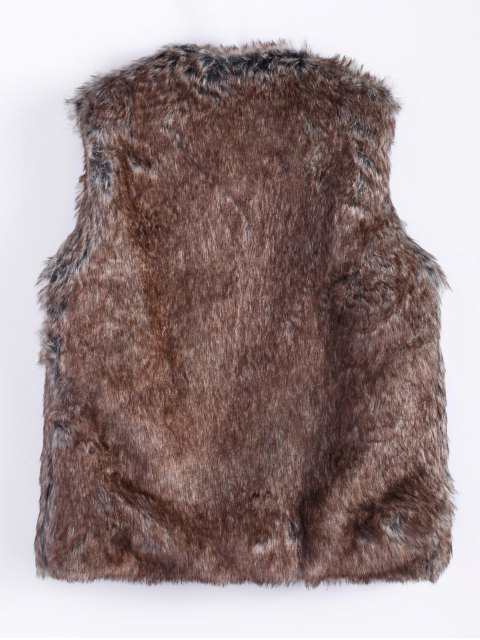 affordable Faur Fur Winter Vest - BROWN 2XL Mobile
