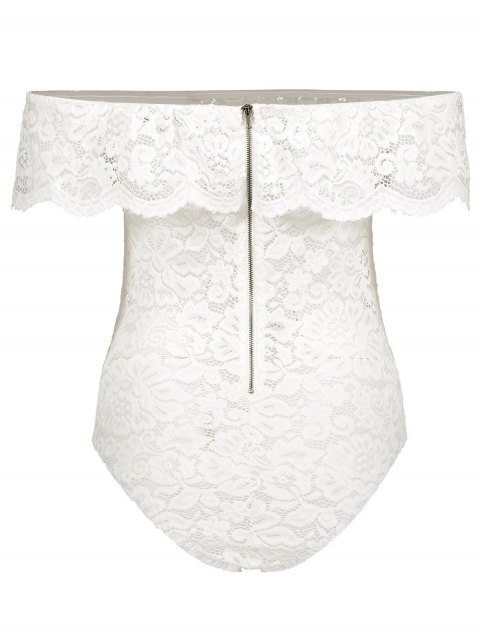 latest Off Shoulder Flounced Lace Bodysuit - WHITE L Mobile