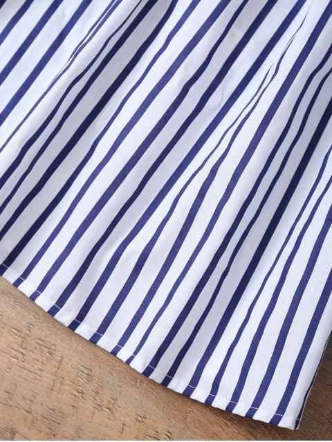 affordable Striped Off Shoulder Choker Blouse - STRIPE XL Mobile
