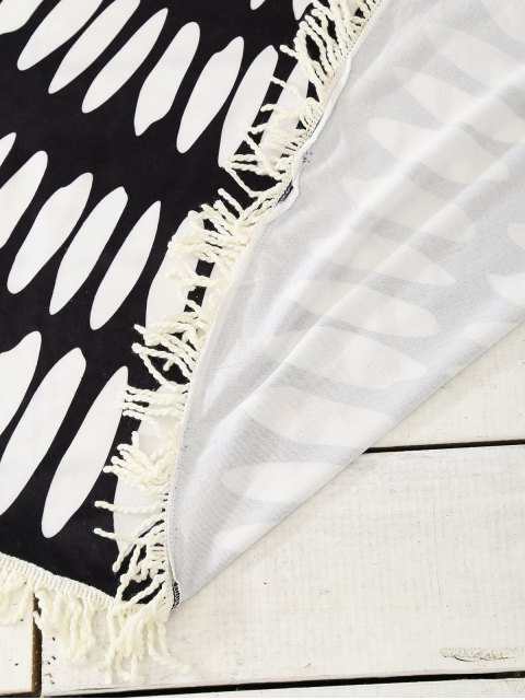 latest Patterned Tassel Sarong Beach Throw - WHITE AND BLACK ONE SIZE Mobile