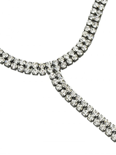 ladies Rhinestoned Longline Choker - SILVER  Mobile
