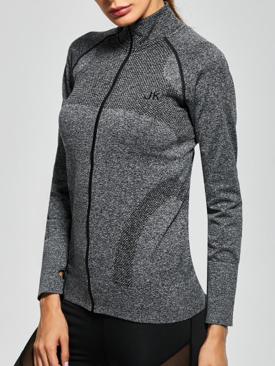 Quick Dry Zipper Work Out Jacket - GRAY L Mobile