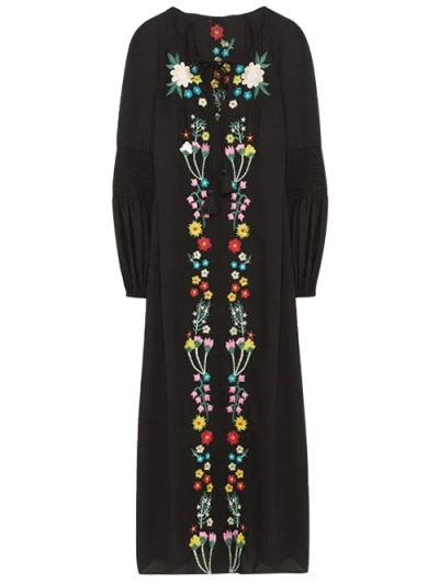 Floral Embroidered Lace Up Long Sleeve Dress - BLACK M Mobile