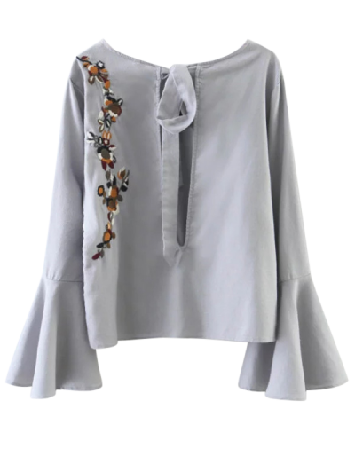 Cut Out Flare Sleeve Floral Tied Blouse - GRAY L Mobile