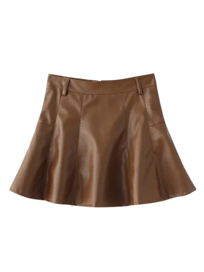 A Line PU Leather Mini Culotte Skirt - BROWN S Mobile