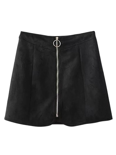 Suede Zippered Mini Skirt - BLACK M Mobile