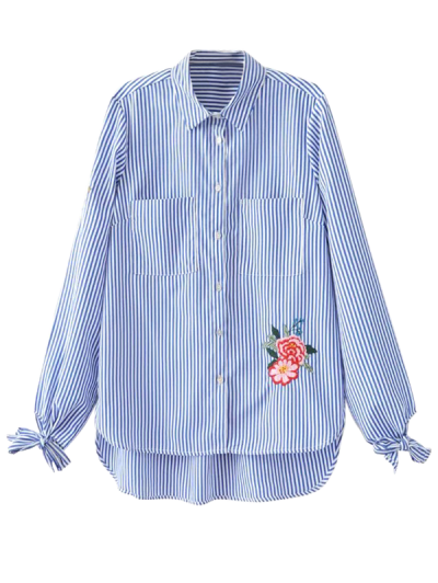 Floral Embroidered Tied Striped Shirt - STRIPE M Mobile
