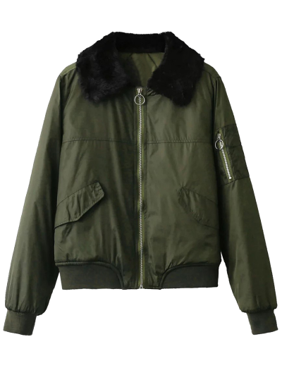 Fur Collar Padded Cargo Bomber Jacket - ARMY GREEN L Mobile