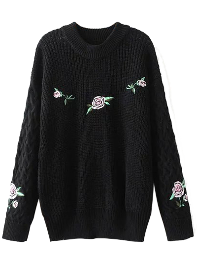 Cable Knit Floral Embroidered Jumper - BLACK M Mobile