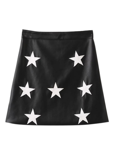 PU Leather Star A-Line Skirt - BLACK M Mobile