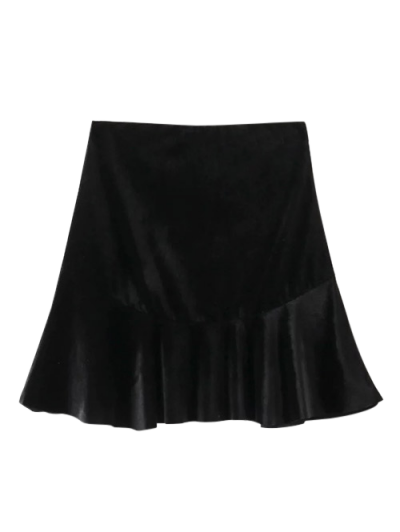 Flounced Velvet Mini Skirt - BLACK L Mobile