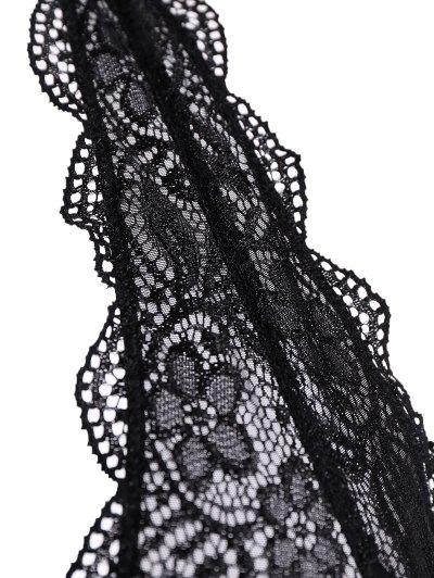 Scalloped Embroidered Bra - BLACK XL Mobile