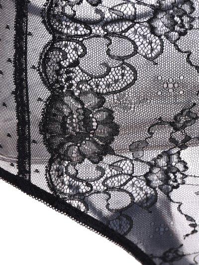 Lace Panel See-Through Bodysuit - BLACK L Mobile