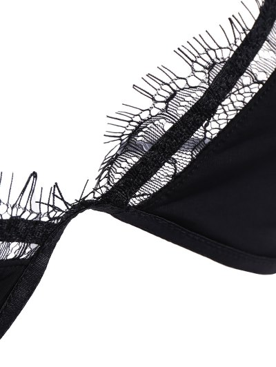 Wireless Eyelash Lace Plunge Bra - BLACK 2XL Mobile