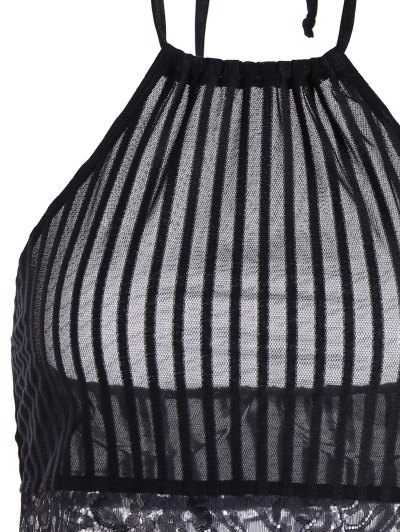 Scalloped Lace Panel Bra - BLACK XL Mobile