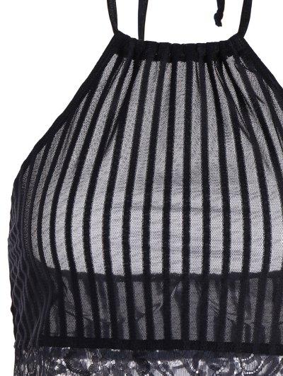 Scalloped Lace Panel Bra - BLACK L Mobile