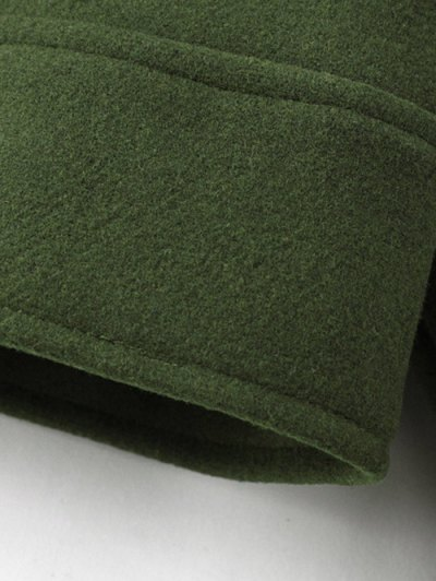 Cropped Wool Blend Bridge Coat - ARMY GREEN M Mobile