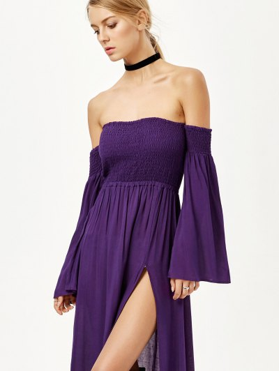 Off Shoulder High Slit Shirred Maxi Dress - PURPLE S Mobile