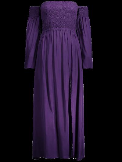 Off Shoulder High Slit Shirred Maxi Dress - PURPLE M Mobile