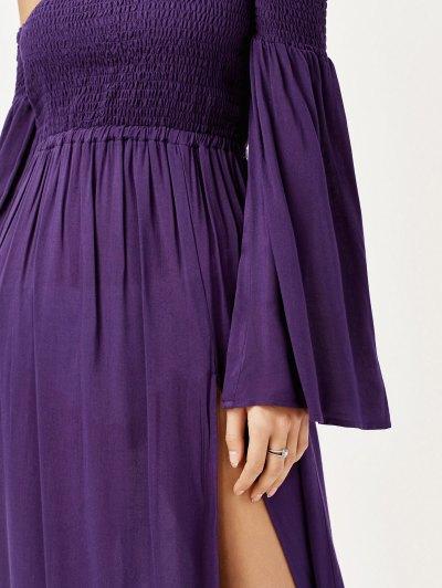 Off Shoulder High Slit Shirred Maxi Dress - PURPLE XL Mobile