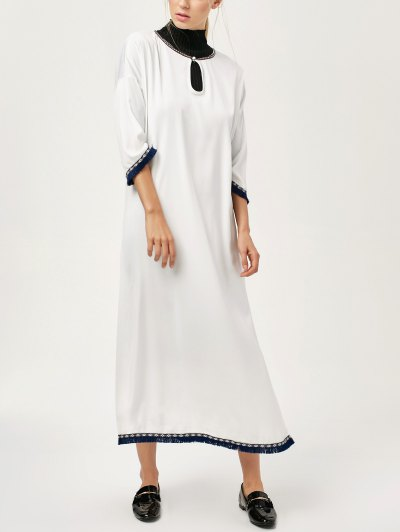 Side Slit Loose Maxi Dress - WHITE S Mobile