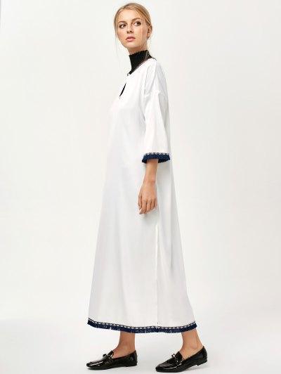 Side Slit Loose Maxi Dress - WHITE M Mobile