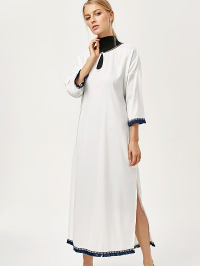 Side Slit Loose Maxi Dress - WHITE L Mobile