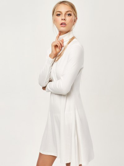 Turtle Neck Mini Swing Dress - WHITE S Mobile