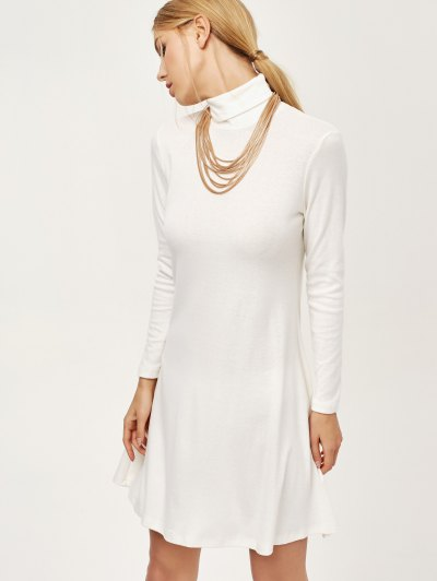 Turtle Neck Mini Swing Dress - WHITE 2XL Mobile