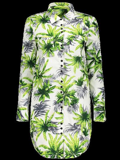 Pocket Coconut Palm Print Shirt - FLORAL M Mobile