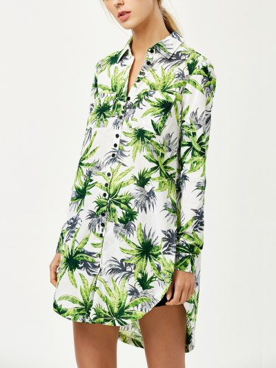 Pocket Coconut Palm Print Shirt - FLORAL L Mobile