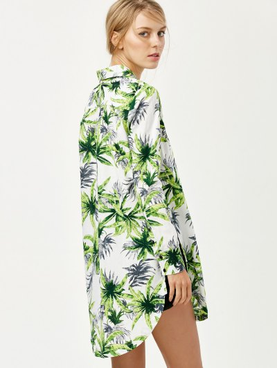 Pocket Coconut Palm Print Shirt - FLORAL XL Mobile