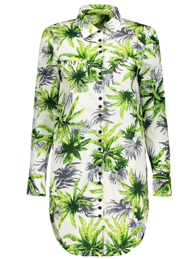 Pocket Coconut Palm Print Shirt - FLORAL 2XL Mobile