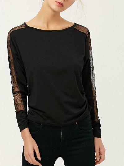 See Thru Lace Panel Tee - BLACK M Mobile